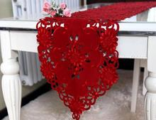 2019 Modern satin embroidery Table Runner cloth cover Bed runner lace tablecloth placemat Mantel Kitchen Christmas wedding decor