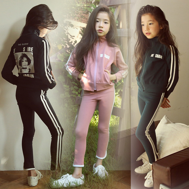 Kids Sport Suits New Spring Autumn Casual Children Clothing Set 3-14 Year Girls Toddler 2pcs Clothes Sets Teens Tracksuit CA348