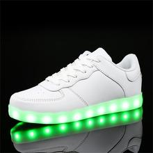 2017 children girls 7 color Led Luminous sneakers kids sports Glowing Shoes for boy USB Charging