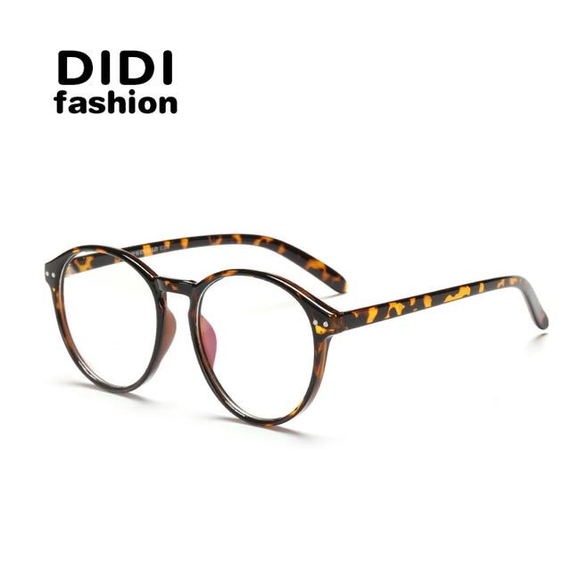 5ba44a37da7 DIDI Round Plastic Leopard Glasses Frame Vintage Spectacle Frames For Women  Men Accessories Eyewear Frames Lunette