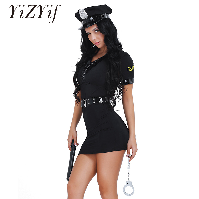 YiZYiF Sexy Women Police Uniform Officer Costume Policewoman Halloween Cosplay Costume Fancy Dress With Belts Handcuffs Spontoon