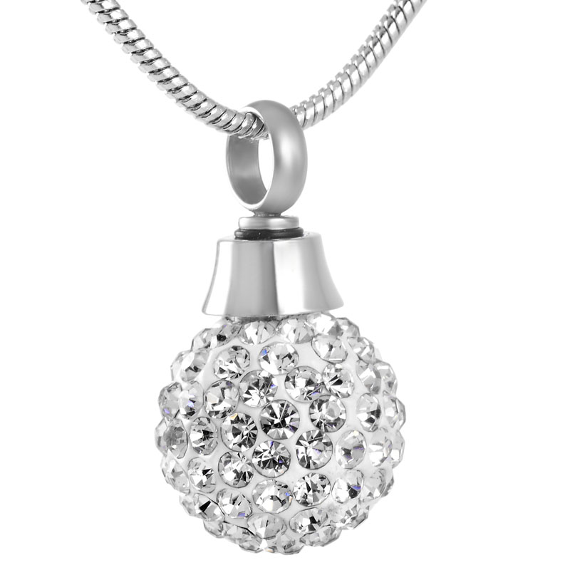IJD8865 15mm Small Crystal Ball Cremation Urn Necklace