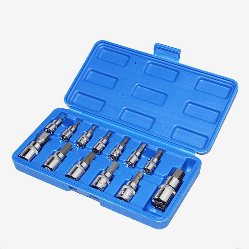Collection Here 13pcs Hex Socket Set Head For Torque Spanner Ratchet Socket Wrench 1/4 3/8 1/2 Inch Drive Hex Key Allen Head Socket Bits Good For Energy And The Spleen Hand Tools