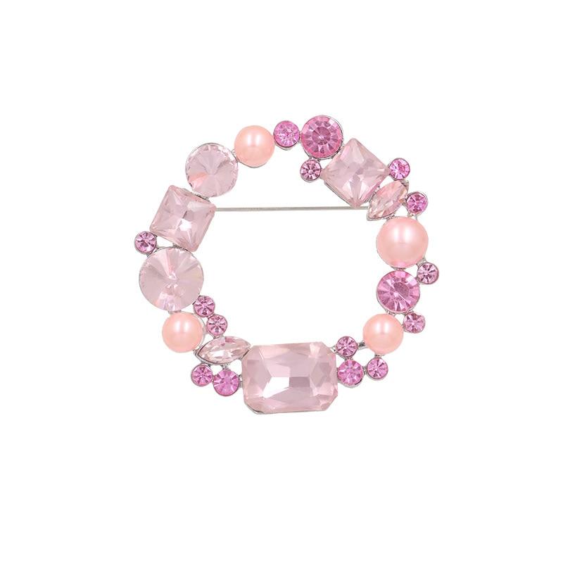 WEIMANJINGDIAN Marke Neue Ankunft Schöne Farbe Kristall Kreis Kranz Rosa Broschen für Frauen