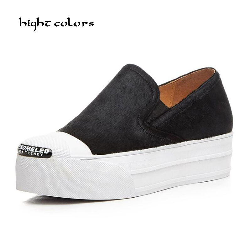 Women Flat Platform Loafers Shoes Brand Women Genuine Leather Horsehair Casual Platform Shoes For Ladies New Fashion Flats Women цены онлайн