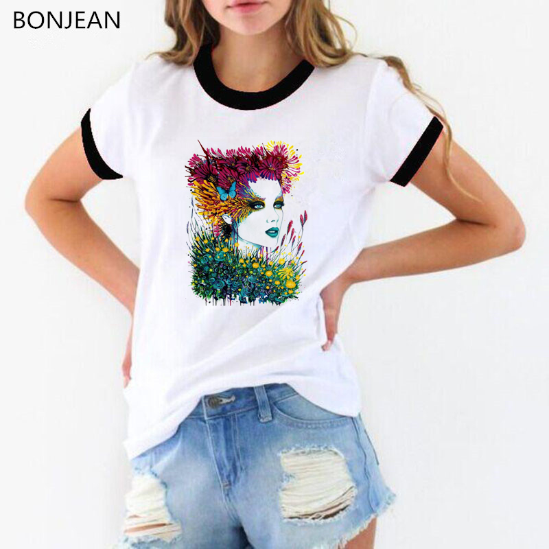 Woman portrait painting with flowers & butterfly print t shirt women aesthetic clothes white tshirt hipster tops streetwear