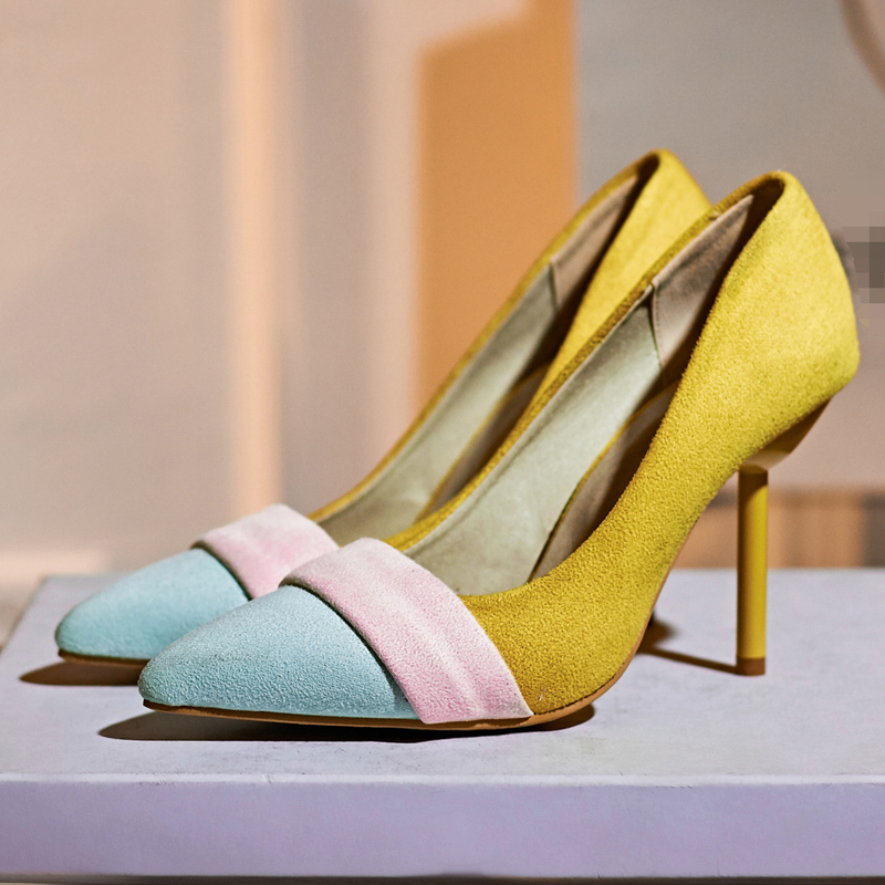 2016 New Plus Size 40 43 High heeled Pumps font b Women b font Shoes Beige