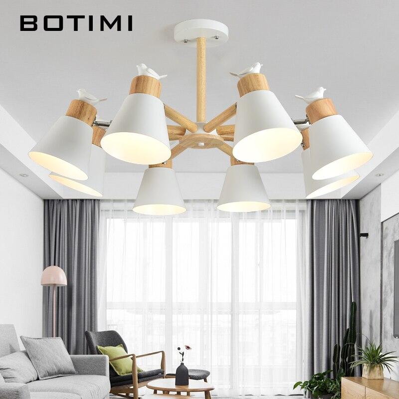 BOTIMI Nouvelle Arrivée LED Lustre Pour Salon Blanc En Bois Lustre Noir Métal Lustre Moderne Lustres Oiseaux E27 Lustres