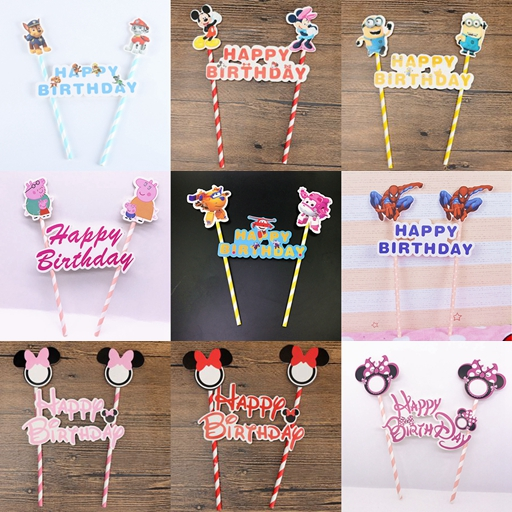 1set Mickey Minnie Mouse Minions Happy Birthday Cupcake Topper Flags font b Baby b font Kids