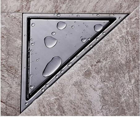 High Quality Hidden type Triangle Tile Insert Floor Waste Grates Shower Drain 232mm*117mm,304 Stainless steel floor drain