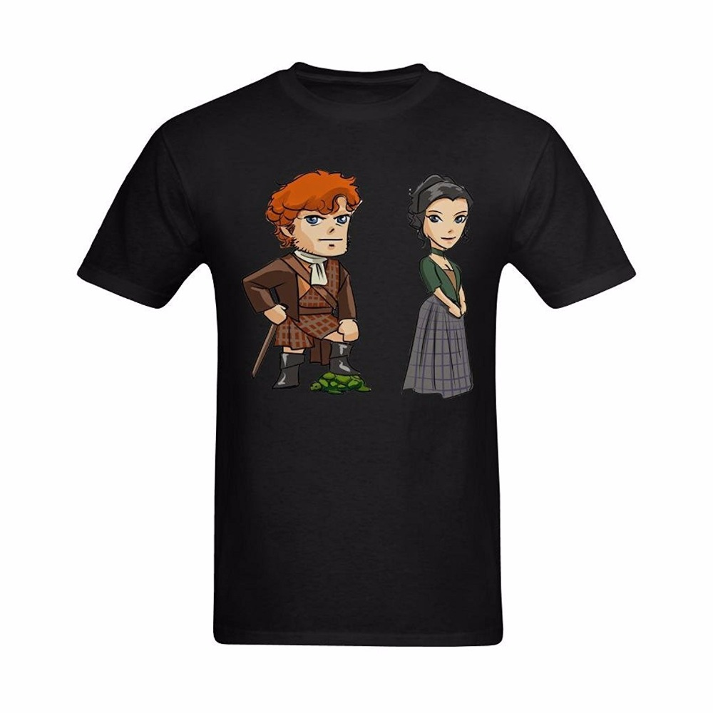100% Cotton Short Sleeve O-Neck Tops Tee Shirts Outlander Jamie And Claire Design Print T-Shirt Mens Short