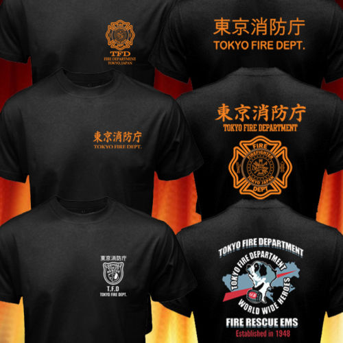 Rare Japan Style Tokyo Fire Department Firefighter Rescue Logo T-shirt Tops de algodón para hombre Camisetas Tallas grandes