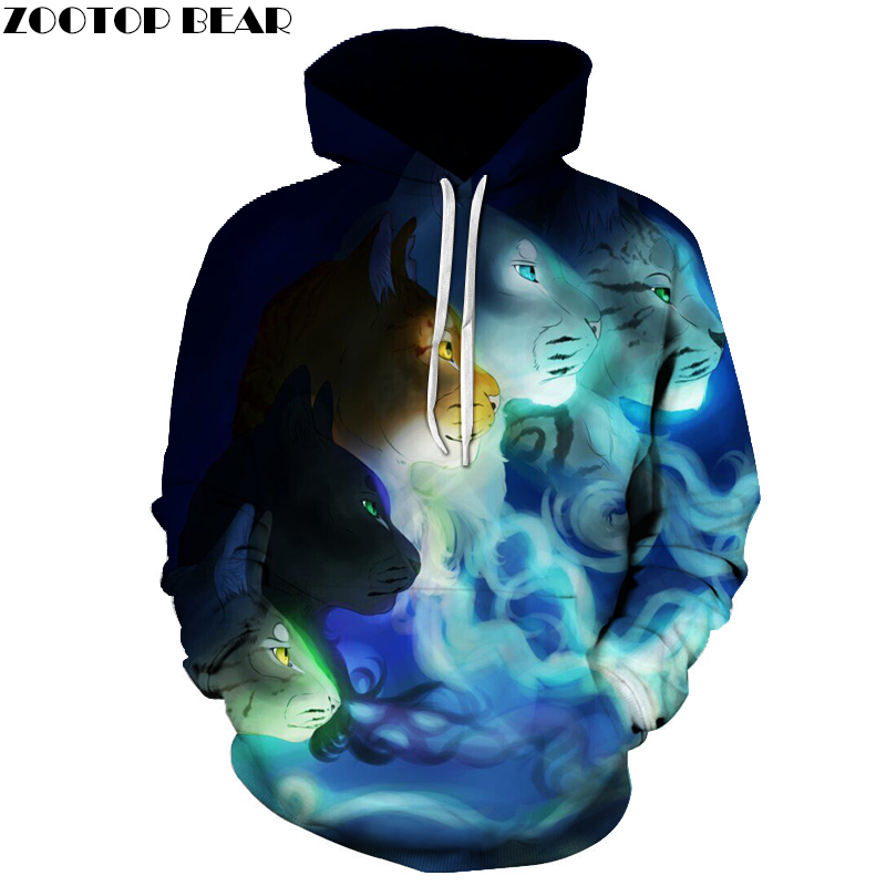 Novelty Animal Printed Hoodies Men Sweatshirts Harajuku Women Tracksuits Loose Hooded Streetsear Autumn Pullover 3D Male