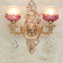 hot deal buy bathroom wall lamp gold led crystal wall sconce rose gold wall lamp bedroom led mirror light hotel iron wall lamps bedside lamp
