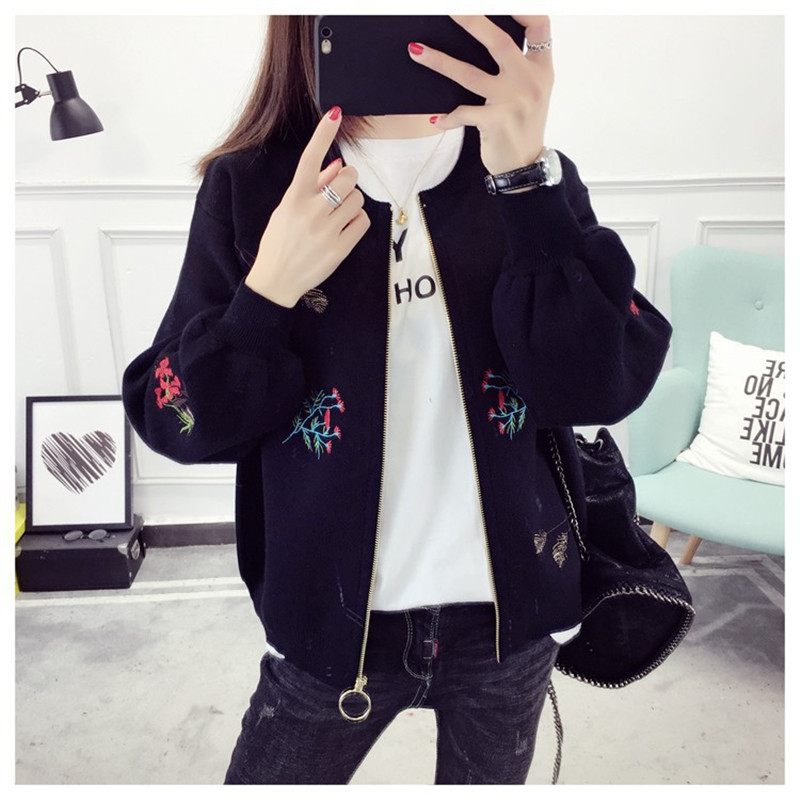 Embroidered Knitted Cardigan Women's Loose Spring And Autumn New Fashion In 2019
