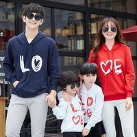 Casual Autumn Family Matching Clothes Mother Dad Baby Kids LOVE Hooded Hoody Long Sleeved Sweatshirt T