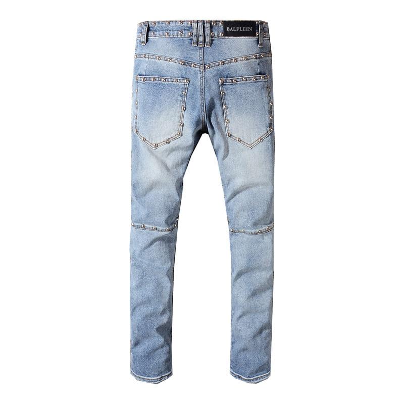 High Street Fashion Ripped Jeans Blue Color Rivets Decoration Hip Hop Jeans Men Punk Pants Skinny Fit Brand Biker Jeans Homme
