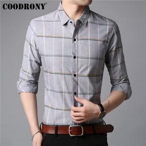 Image 3 - COODRONY Men Shirt Autumn New Arrival Long Sleeve Shirt Men Business Casual Shirts Fashion Striped Cotton Camisa Masculina 96019