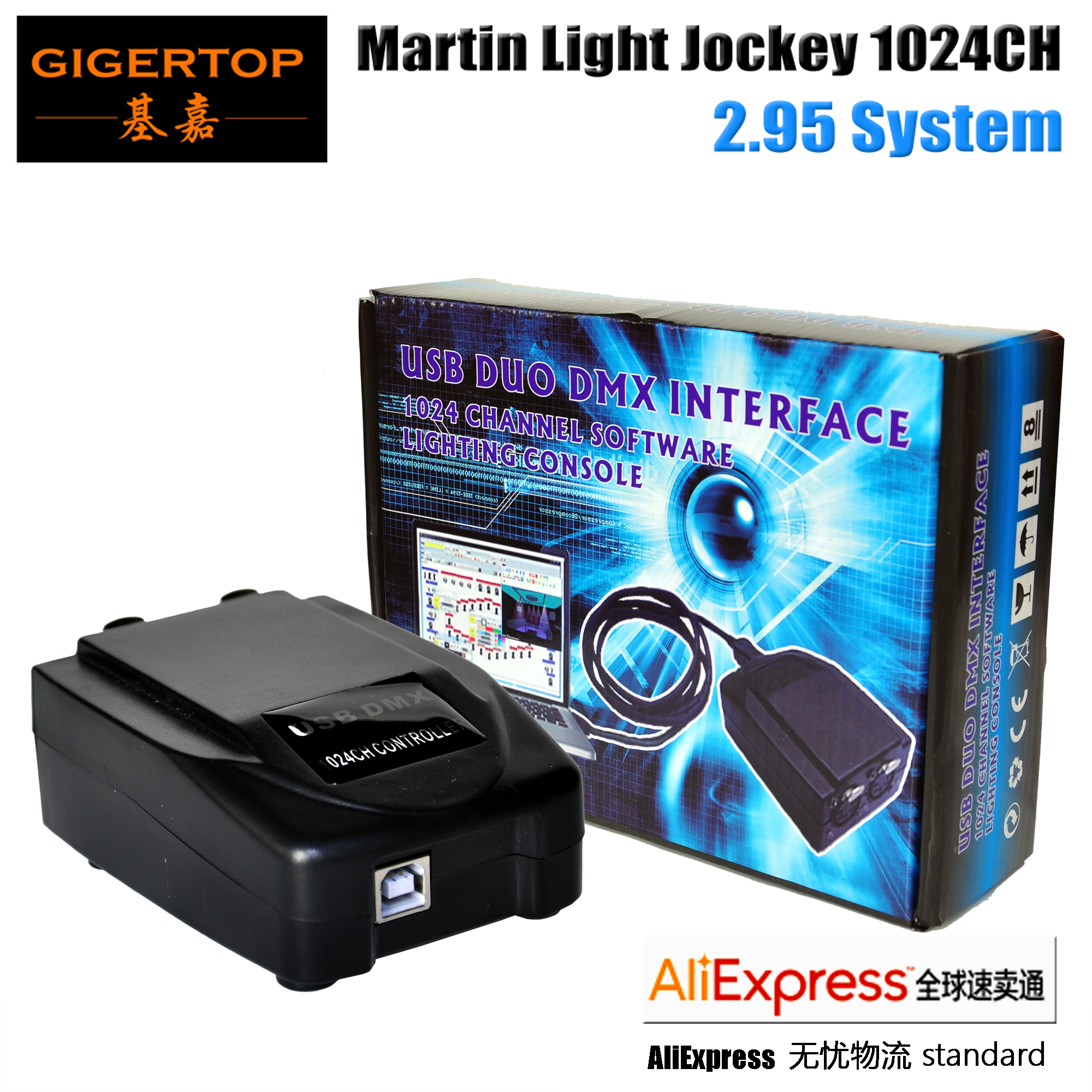 <font><b>Aliexpress</b></font> Martin Light Jockey USB 2.95 DMX Interface 1024 Channel Software Lighting Console USB-DMX PC 3D Lighting Effect Live image