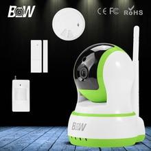 Bw hd cámara ip wifi 720 p cámara ip de seguridad wi-fi la visión nocturna de la puerta y de infrarrojos motion sensor + detector de humo alarma