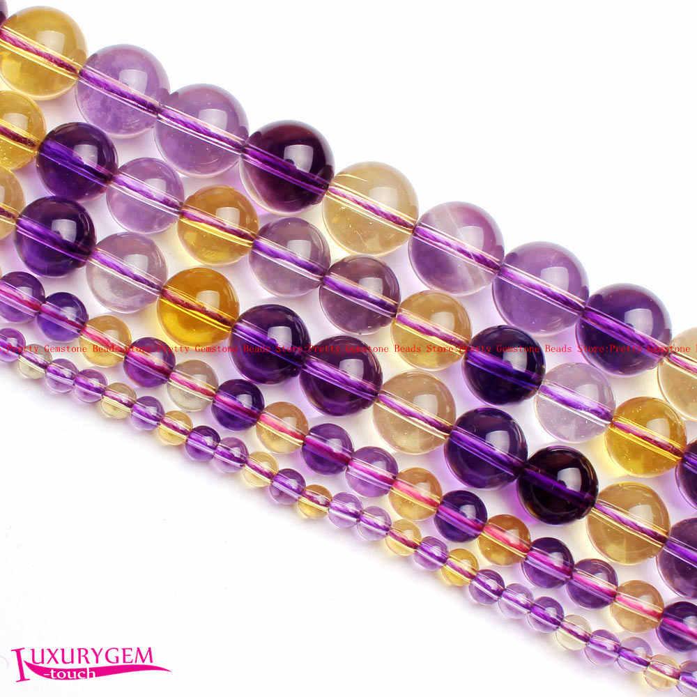 Livraison Gratuite 4,6, 8,10, 12mm Lisse Naturel Cristaux Ametrines Forme Ronde Gems Lâche de Perles Strand 15 wj357