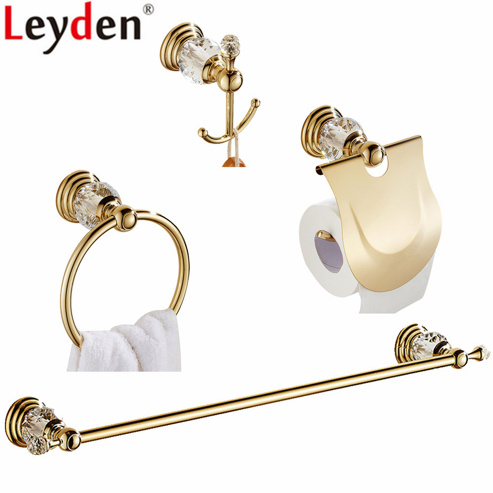 Gold Finish Zinc Alloy And Crystal 4pcs
