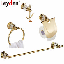 Leyden Gold Finish Zinc-Alloy and Crystal 4pcs Bathroom Accessories Set Single Towel Bar Paper Holder Towel Ring Robe Hook