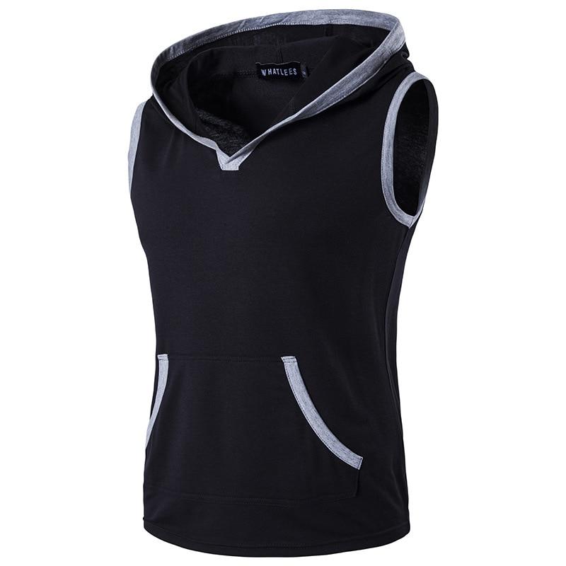 2017 Envmenst Newest Men's Cotton Tank Tops Hooded Sleeveless Tshirt Vest Men Stitch Sportswear Hip Hop sleeveless undershirt