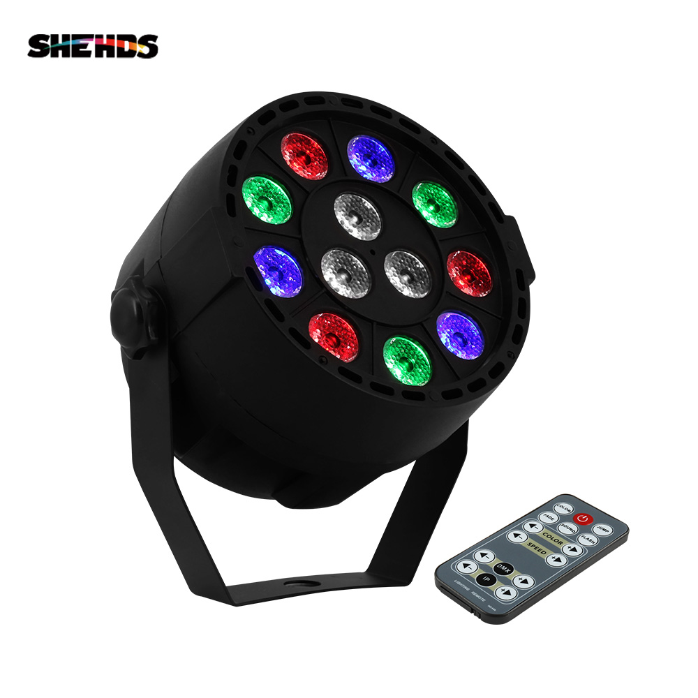 SHEHDS Remote Control 12x3W RGBW LED Flat Par Light With DMX512 For Disco DJ Projector Machine Party Decoration Stage Lighting