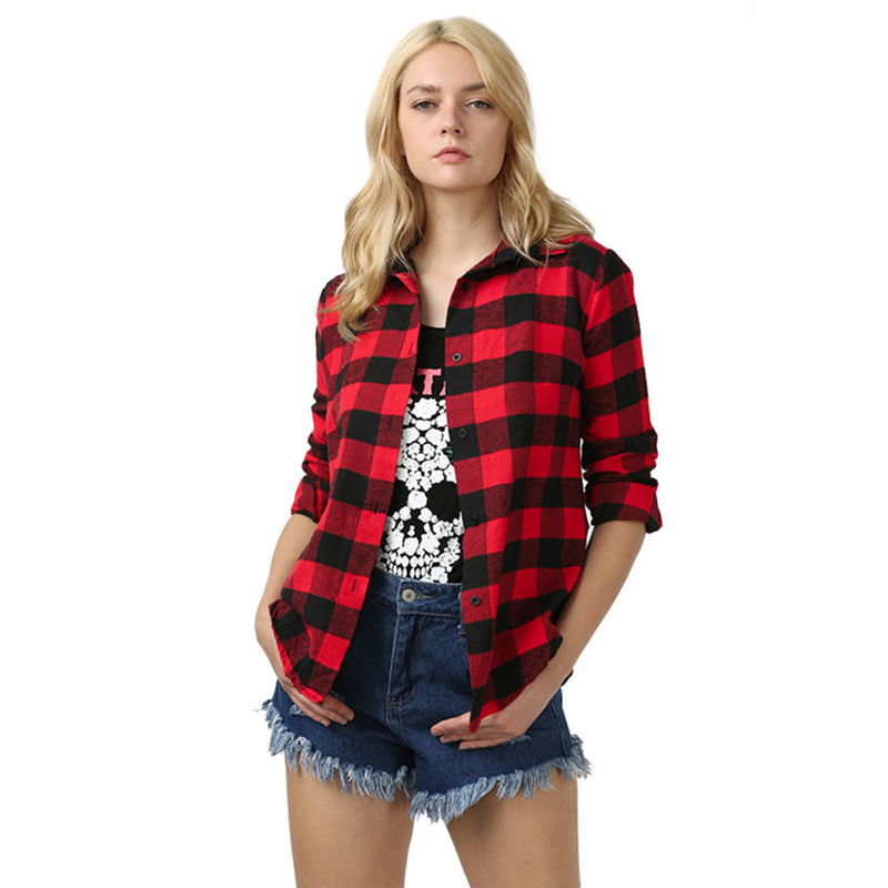 Women's Shirts, Fashionable New Plaid Shirts Loose Blouses Shirts Notched Streetwear