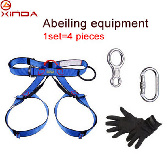 XINDA Professional Outdoor Equipment Rock Climbing Rappelling Rescue Escape Kits 4 Pieces Descender Carabiner Safety Belt Gloves xinda professional handle pulley roller gear outdoor rock climbing tyrolean traverse crossing weight carriage device