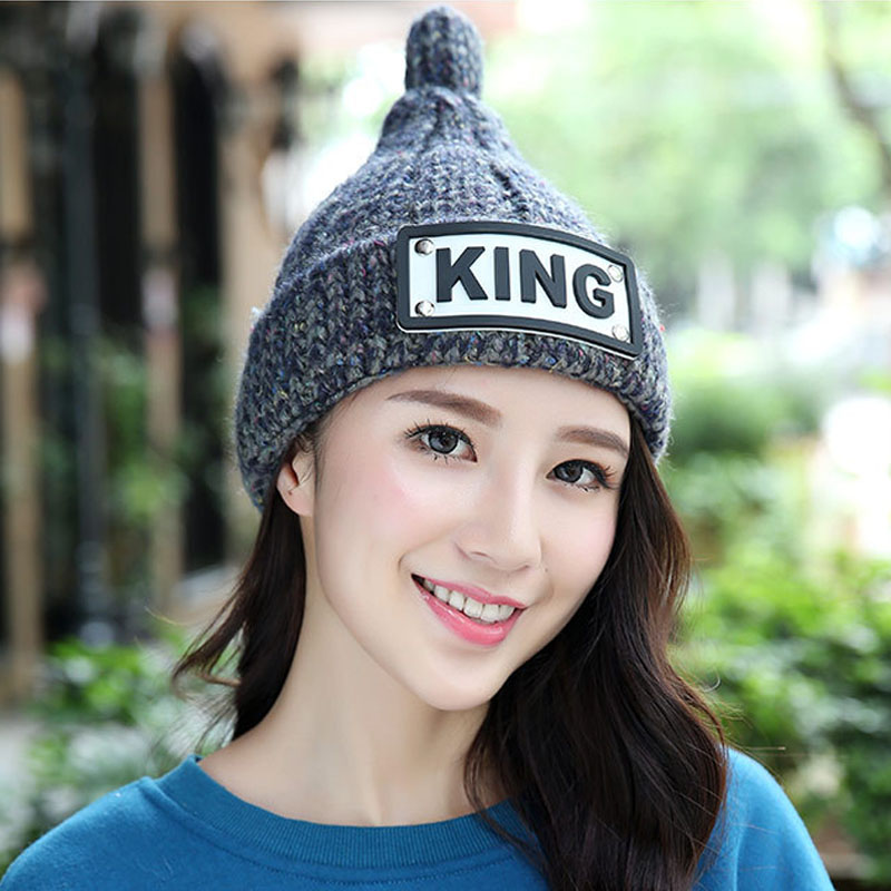 Winter Warm Velvet Knitted Hat Women Thick KING Pattern Hat Fashion Skullies Beanies Female Cap Free Shipping