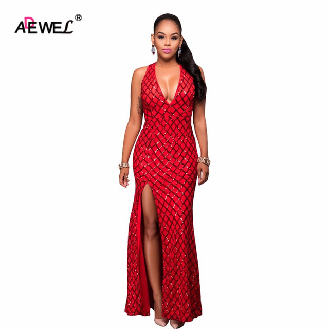 Adewel Sequin Long Party Formal Dress Sexy Red Gold Diamond Backless