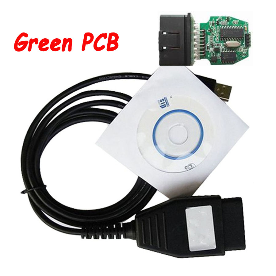 Best Green PCB For Ford VCM OBD Auto Diagnostic Cable FoCOM Diagnostics Program VCM OBD OBD2 Interface For Car 1996~2010