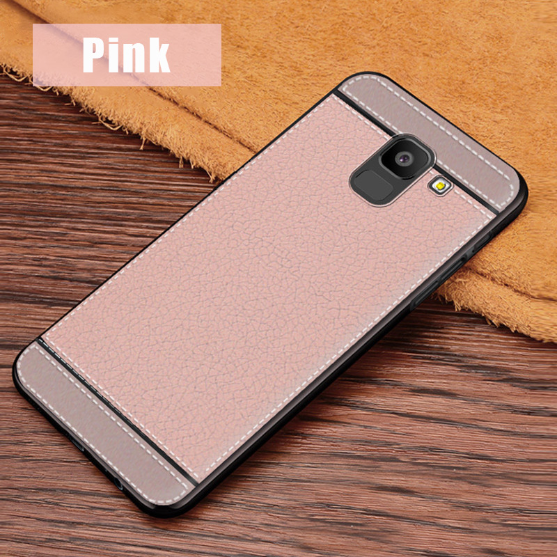 KSAM1105F_1_JONSONW Phone Case For Samsung A7 2018 A6 A8 Plus Leather Skin Soft TPU Silicone Case For J4 J6+ J8 2018 Premium Leather Back Cover Case