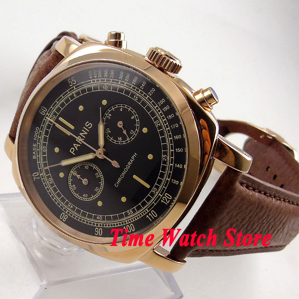 Solid Parnis men's watch 44mm Golden case deployant clasp black dial Full chronograph quartz movement wrist watch men 676 orlando z400 golden case quartz watch for men
