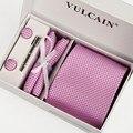 8 cm lazos pañuelo y gemelos & tie clip con caja de regalo 5 sets hombres pink corbata de la tela escocesa púrpura gravatas