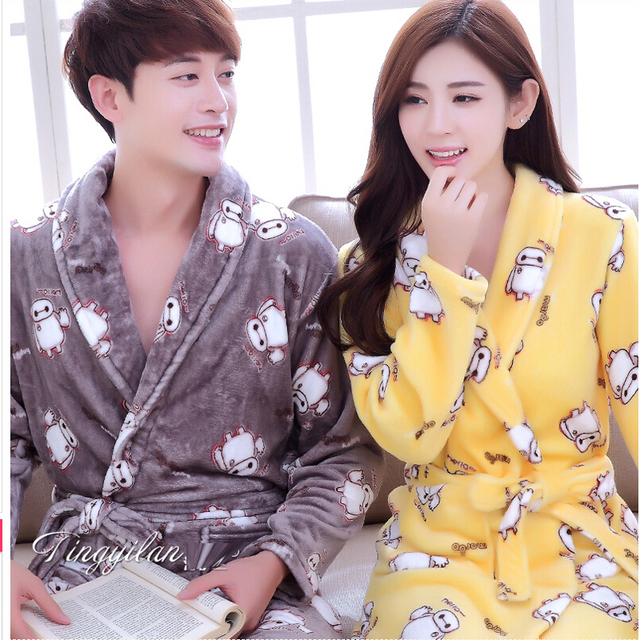 65037b35df Couple Bathrobe Bath Robe For Women Men Winter Flannel Bathrobes Home Wear Nightgown  Sleepwear Kimono Dressing