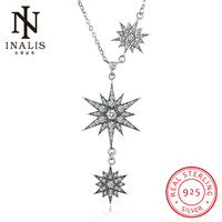 INALIS 925 Sterling Silver Necklace Creative Inlaid Zircon Star Pendant Necklace For Women Girl Female Jewelry