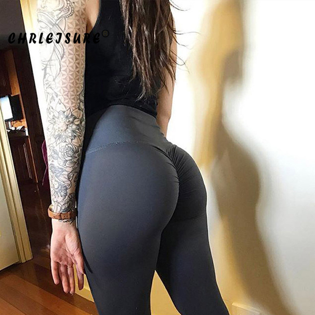 CHRLEISURE High Waist Women's Leggings 2018 Polyester Push Up Trousers Breathable and Comfortable Solid Workout Female Legging