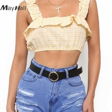 цены на MayHall Ruched Summer 2018 Plaid Crop Top Cute Sweet Women Ruffle Tank Top Lettuce Edge Top Elastic Camis Cropped Feminino MH042 в интернет-магазинах