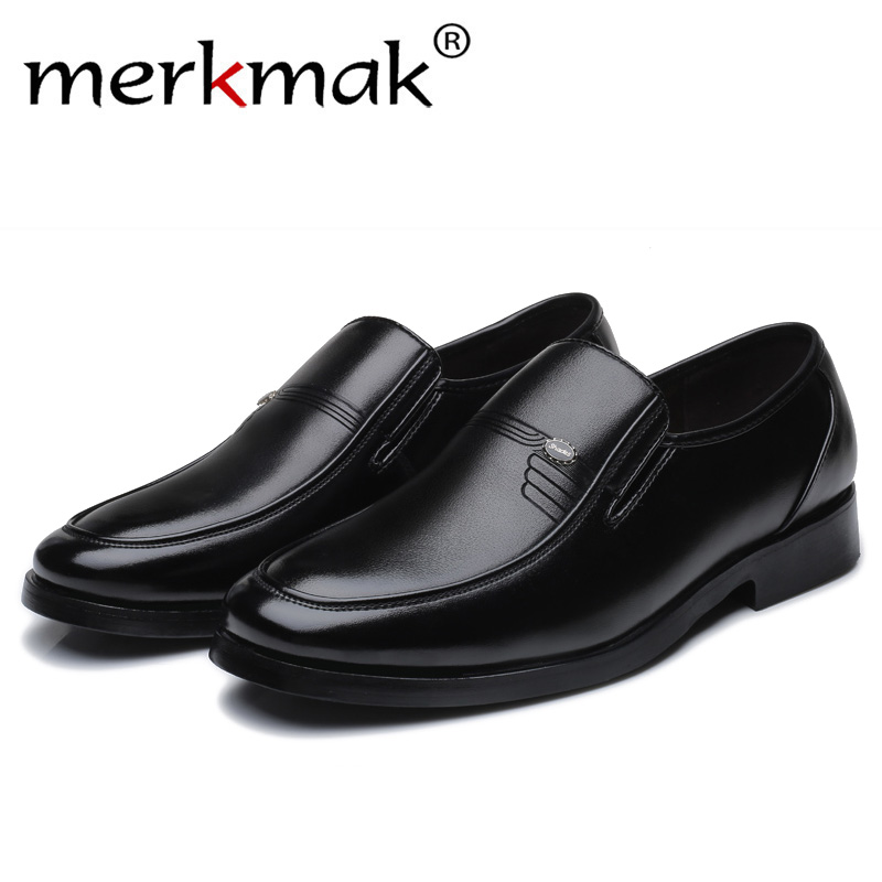 Luxury Brand Men Leather Formal Business Shoes Male Office Work Flat Shoes Oxford Breathable Party W