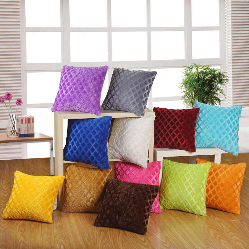 Short plush cushion hug pillowcase solid color pillow cushion cover sofa cushion cover cojines decorativos para sofa
