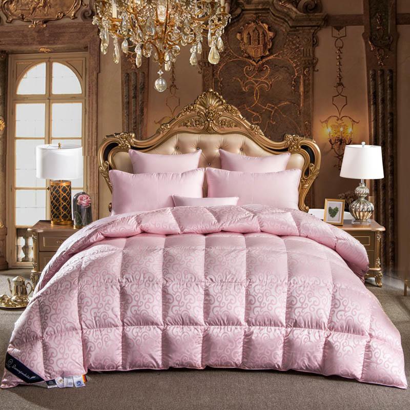 100% гусиный пух кашне постельных принадлежностей король queen полный размер розовый набор постельных принадлежностей с одеялом Duvet бросить Од