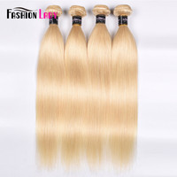 Fashion Lady 4 Bundles Remy Hair Weave 100% Human Hair Brazilian Straight Platinum Blonde Hair Bundles 613# Color Hair