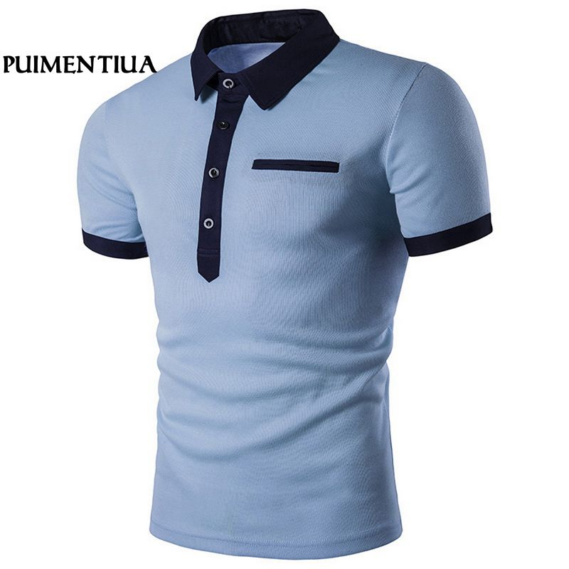 Puimentiua Turn-down Collar Short Sleeve Summer   Polo   Shirts with Button Men Casual Patchwork Basic Tee for Male Camisetas Hombre