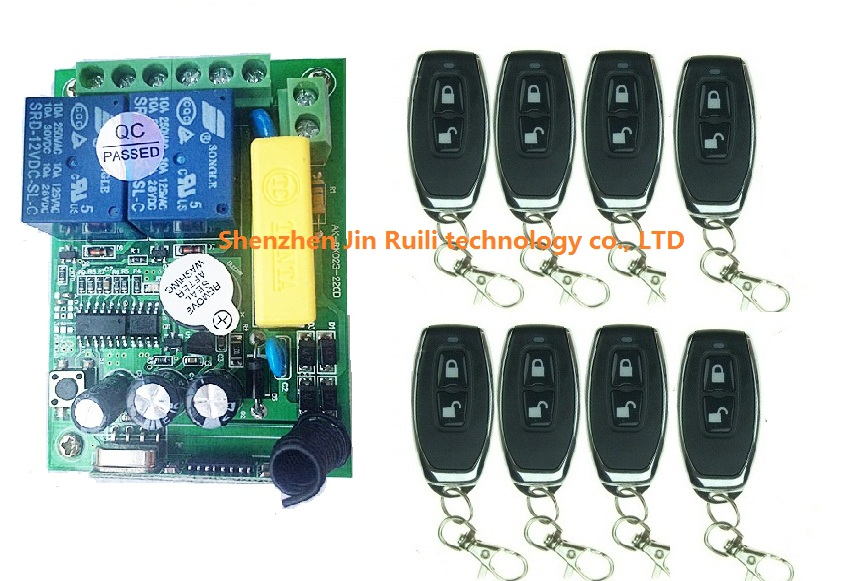 New AC220V 2CH 10A Remote Control Light Switch Relay Output Radio Receiver Module and 8 pcs Belt buckle Transmitter