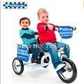 Euro Polícia Tandem Trike Trike Branco/Azul Crianças Duplas Gêmeos Triciclo Buggiest Triciclo