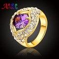Mujeres engagement wedding party fashion girl crystal África Nigeria joyería plateada oro de dubai joya Clásica grandes anillos regalo de las muchachas