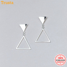 Trusta 100% 925 Sterling Silver Jewelry Women's Fashion Stud Earrings  Simple Triangles Earing Gift For Girls Kid Lady DS1340